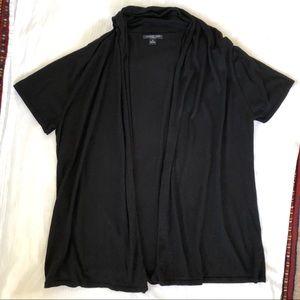 AUGUST SILK Black Silk Cotton Knit Open Cardigan